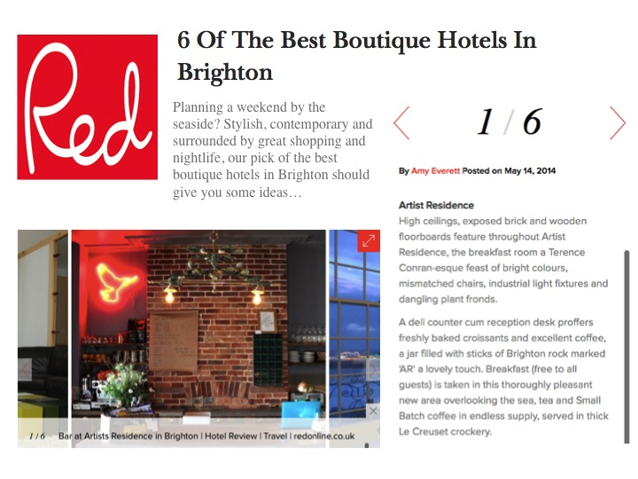 Red online artistresidence brighton for Best boutique hotels uk